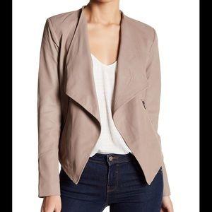 NWT BB Dakota Brycen Draped Leather Jacket Toffee